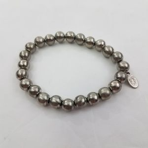 Cookie Lee Bracelet Silver Tone Beaded Stretch Bal
